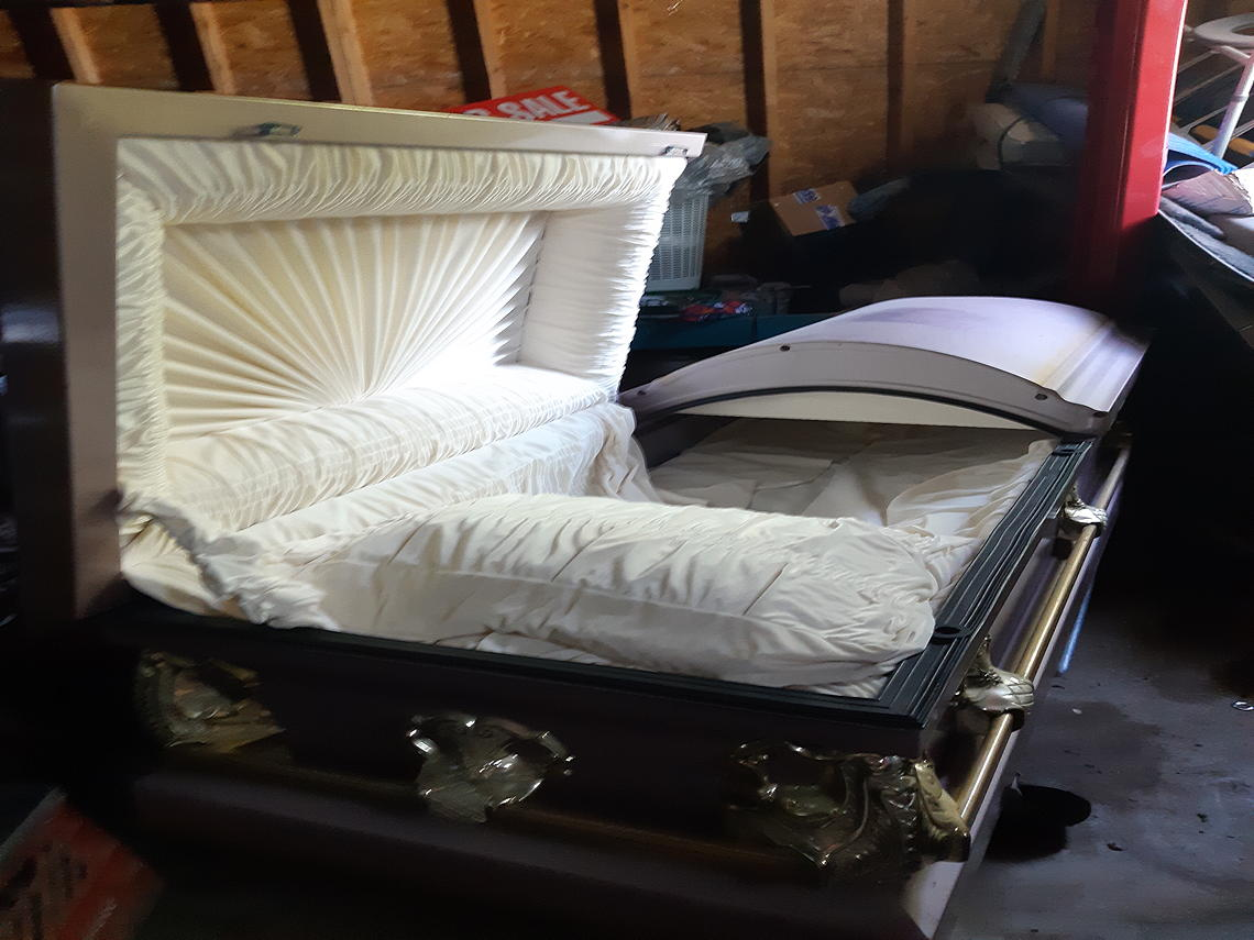 metal casket open